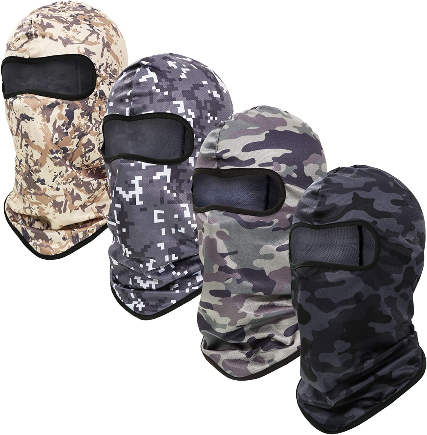 4 Pieces Neck Gaiter Face Covers Balaclava UV Sun Protection Face Cover Scarf Non-Slip Breathable Face Clothing for Outdoor Sports