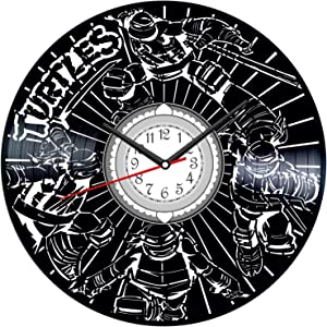 Ninja Turtles Cartoon Vintage Vinyl Wall Clock - Great Home Decor for Bedroom Kitchen Living Room Idea Birthday Christmas Anniversary for Him Her - Unique Wall Art - Size 12 Inches