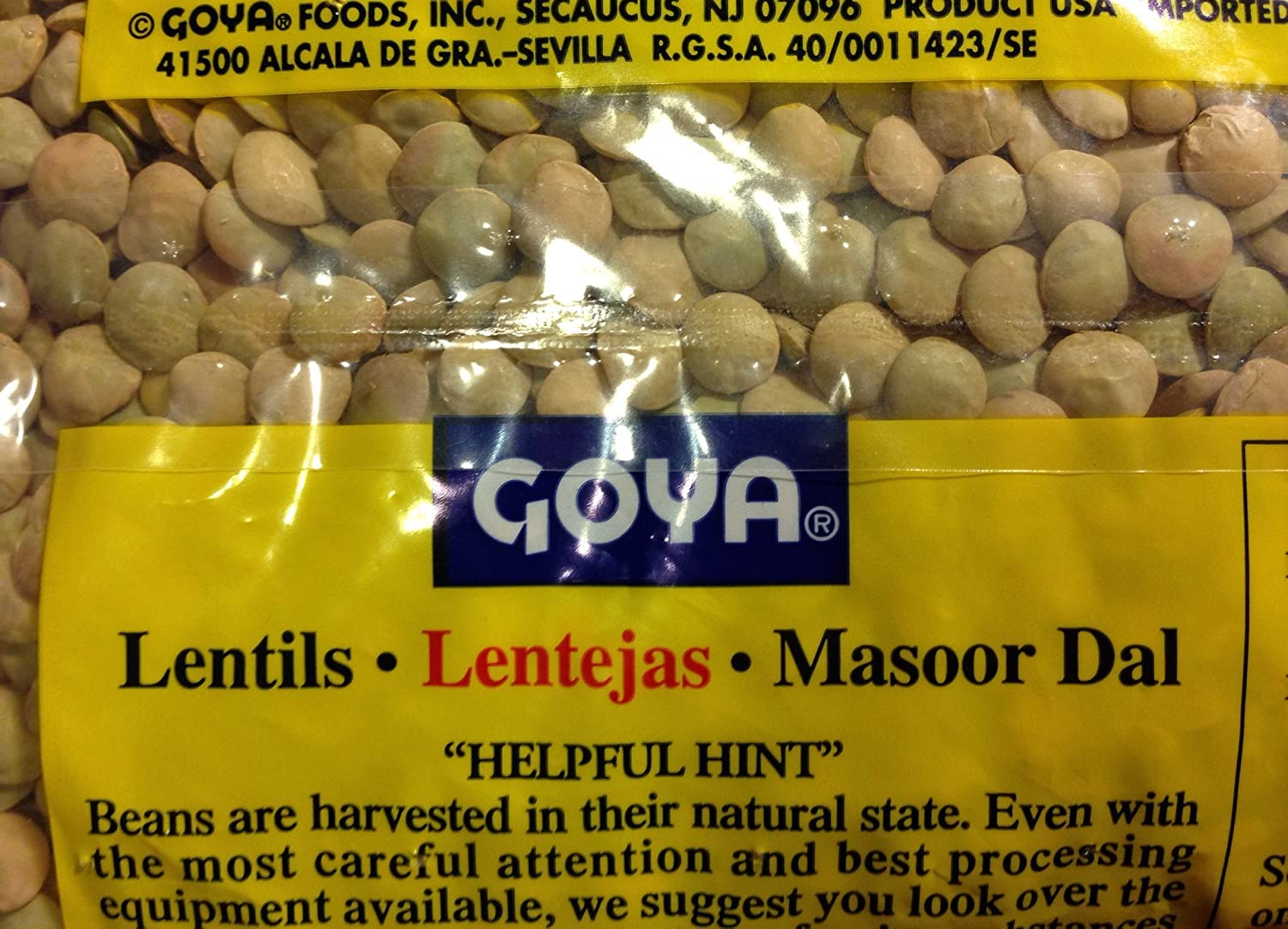 Amazon.com : Goya Lentils Dry 4 - 1 Lb Bags (4 Pack) Dried Great for Lentil Soup - 8 Grams Protein : Grocery & Gourmet Food