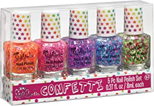 Three Cheers for Girls by Make It Real - Confetti Nail Polish Set - Quick Dry Non Toxic Nail Polish Set - Nail Polish Collection with 5 Different Multi-Color Confetti Combinations