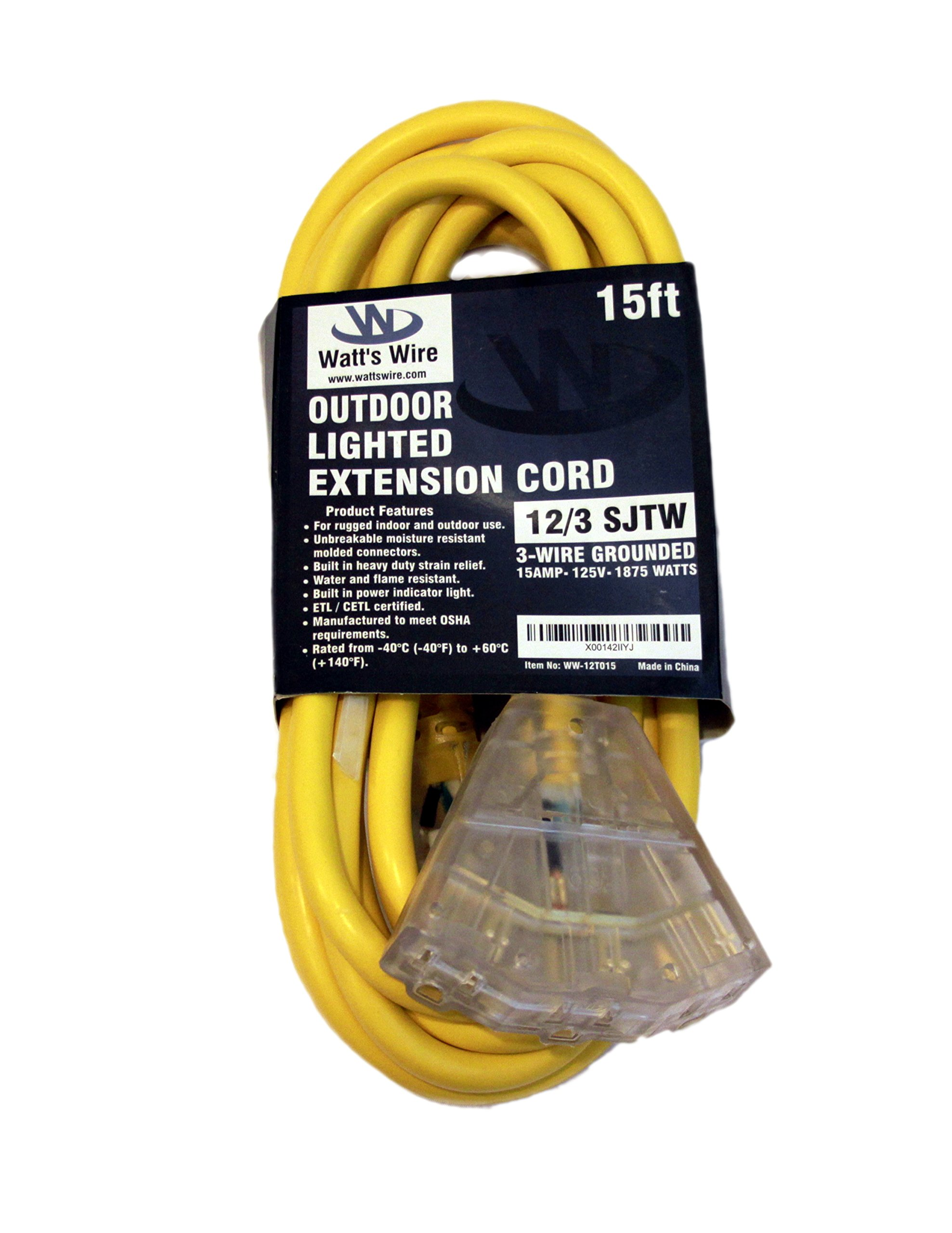 15 ft 12 Gauge Heavy Duty Indoor Outdoor SJTW Lighted Triple Outlet Extension Cord by Watts Wire - Yellow 15 foot 12 AWG Copper Lighted Multi Outlet Grounded 12/3 Extension Cord