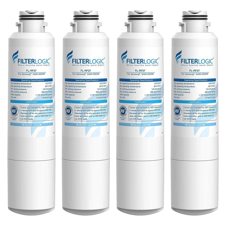 FilterLogic DA29-00020B Refrigerator Water Filter, Replacement for Samsung HAF-CIN, HAF-CIN/EXP, DA29-00020A/B, DA97-08006A, RF28HMEDBSR RF4287HARS RF263TEAESG RH22H9010SR RF23J9011SR (Pack of 4)