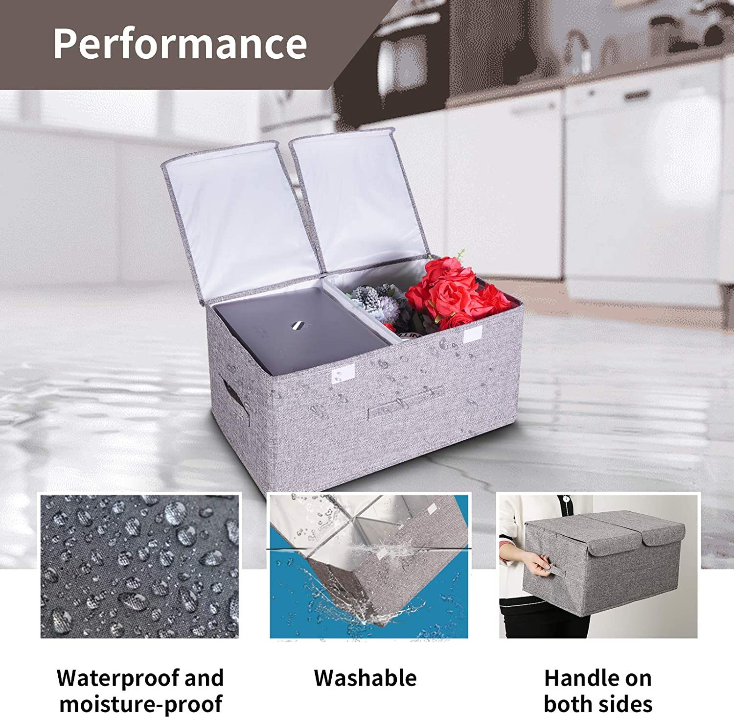 Large Foldable Storage Bins with Lids Stackable Fabric linen Cubes Closet Organizers with 3 Handles,Organization Storage Basket,Storage Box for Kitchen Cabinet Organizers Office Photo Books Toy 2-Pack