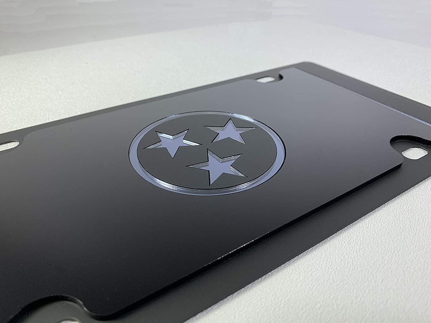 Compatible with Blacked Out Tennessee State Flag Carbon Steel License Plate Eurosport Daytona Black Opaque w//Black Mirror Star Matte Black Bar