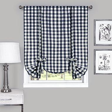Achim Home Furnishings Buffalo Check Window Curtain Tie Up Shade, 42  x 63 , Navy & Ivory