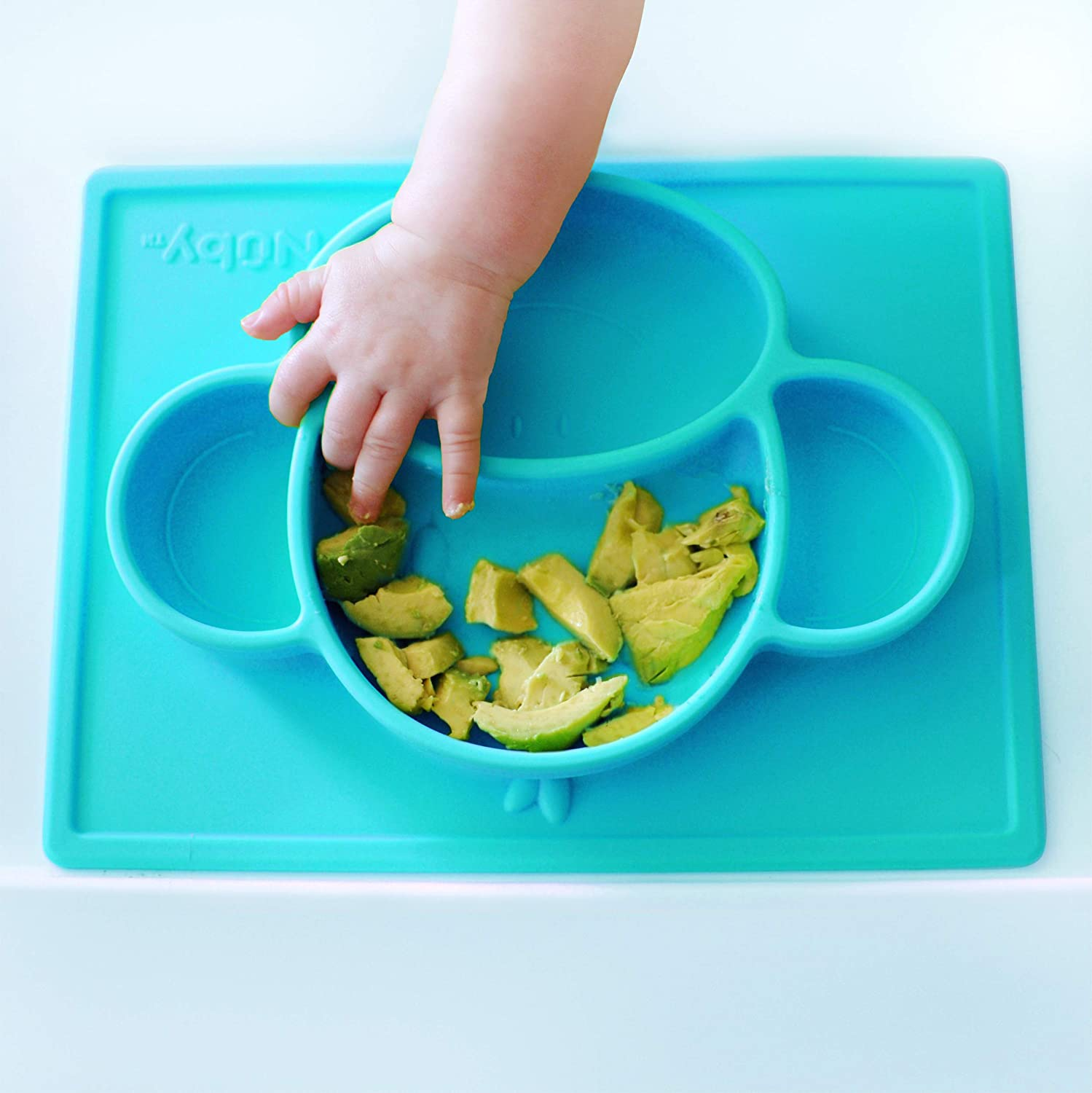 Nuby Sure Grip Monkey Silicone Placemat, Aqua