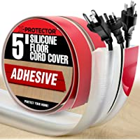 Floor Cord Cover X-Protector –5' Silicone Cord Protector – Overfloor Cord Protector Big Hole – Ideal Extension Cord…