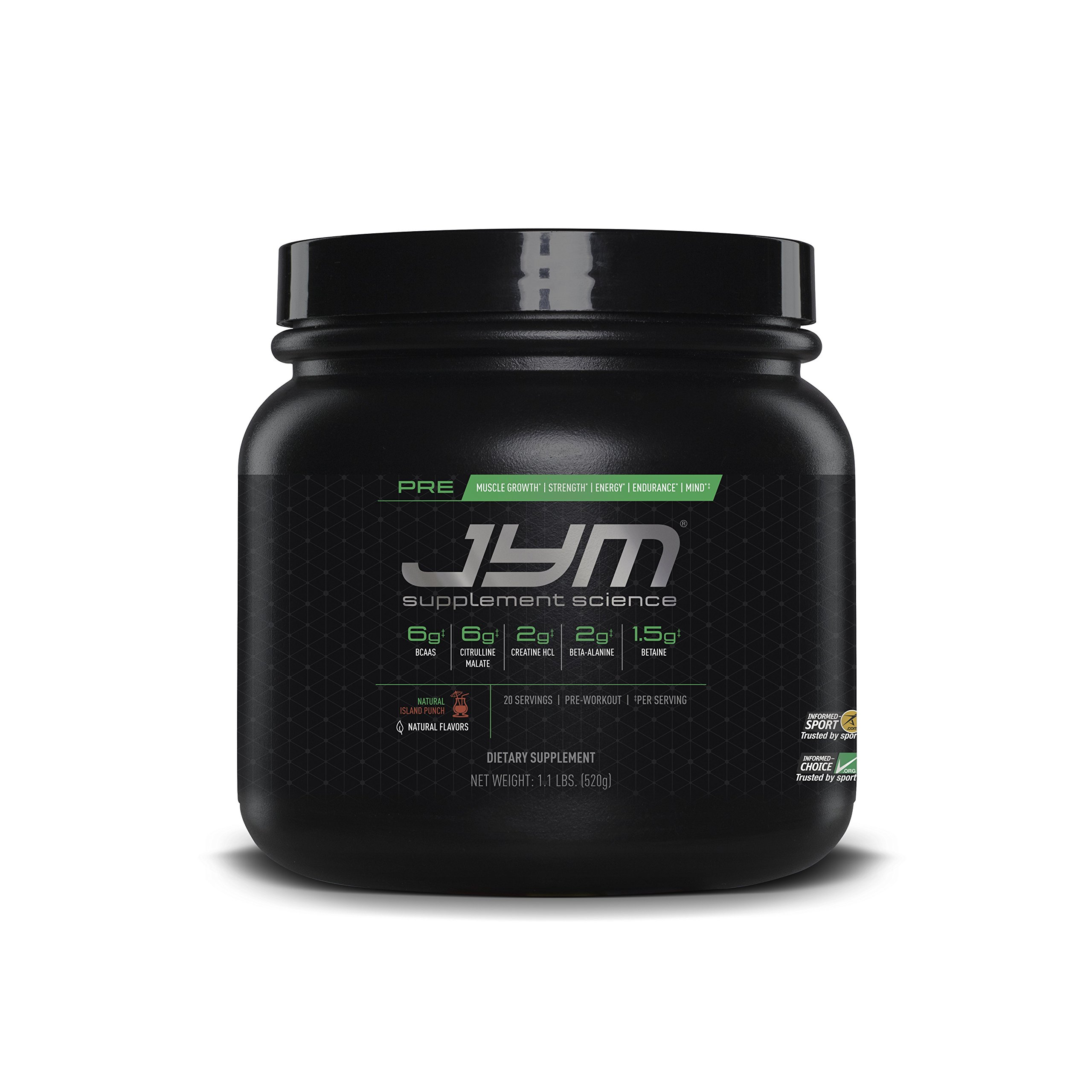 JYM Supplement Science, PRE JYM, Pre-Workout with BCAA's, Creatine HCI, Citrulline Malate, Beta-alanine, Betaine, Alpha-GPC, Beet Root Extract and more, Natural Island Punch, 20 Servings