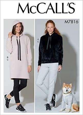L-XL McCalls Patterns McCalls 7816 Coat and Womens Hoodie and Dress Sewing Patterns L Dogs Sizes S-XXL Pants White