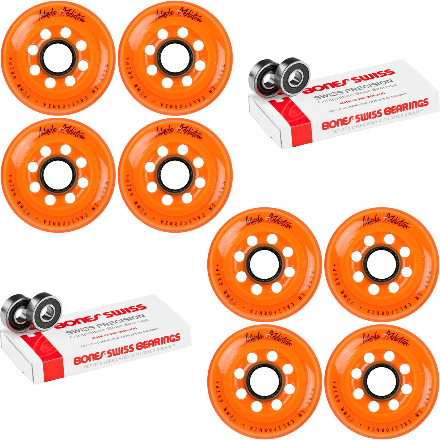 Labeda Inline Roller Hockey Skate Wheels Addiction Orange 72mm 8 Set Bones Swiss