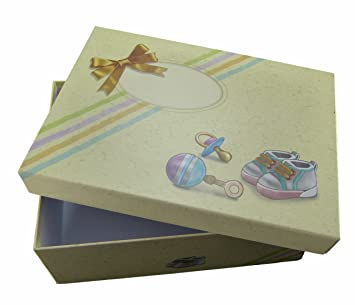 Erinnerungsbox f/ür Babys erstes Jahr mit Zubeh/ör: Karte f/ür Baby Gl/ückw/ünsche und 3 Organzabeutel. Baby Geschenkset mit Babybox Babybox mit 3 Organzabeutel und Karte gro/ß