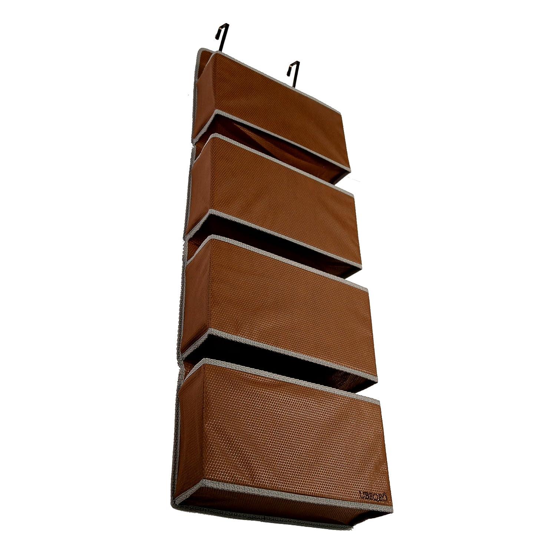 UBEQEO Hanging Pocket Organizer Over Door, Nursery Shelves Metal Hooks, Sturdy Fabric Wall L4 Storage Bag, Beige HWO-02