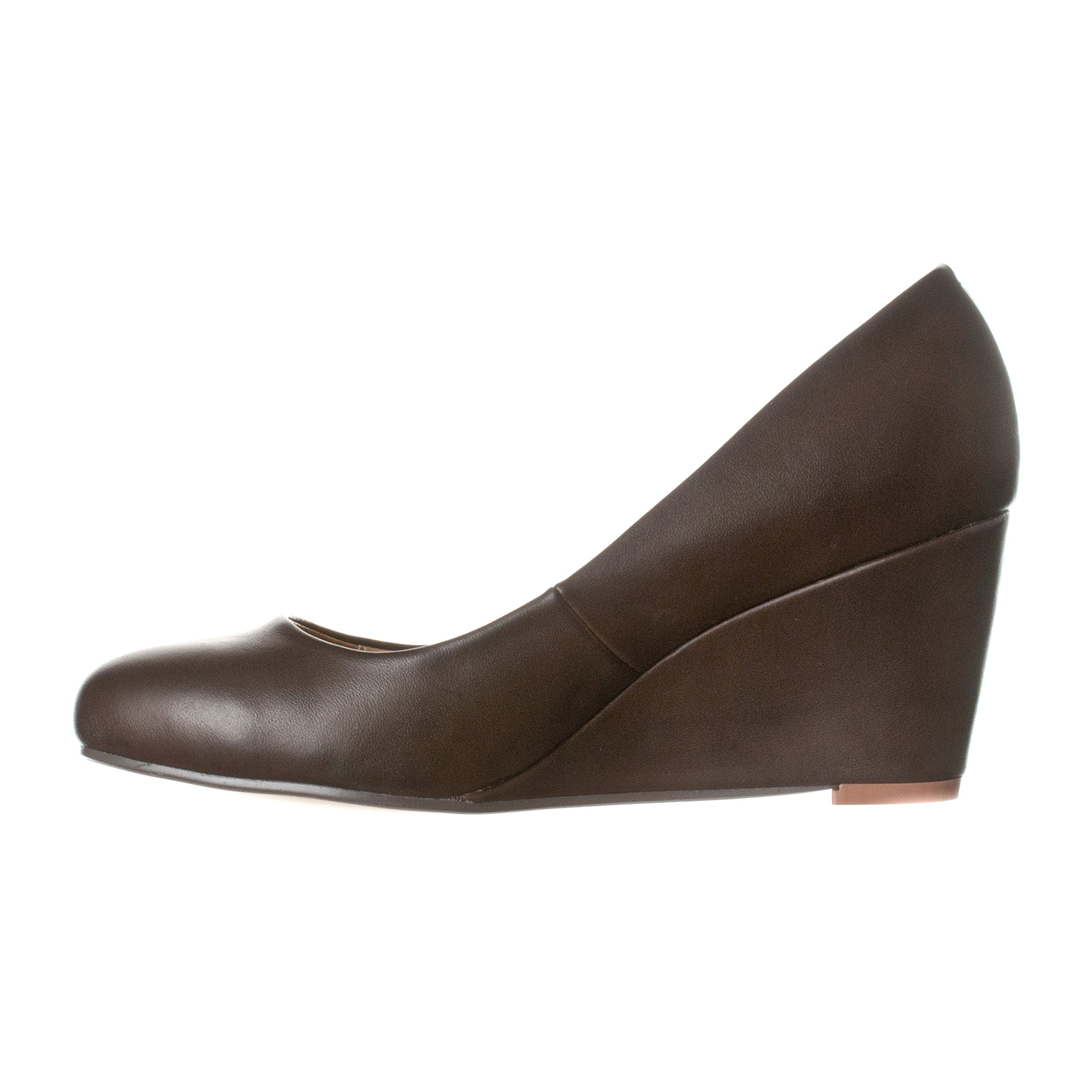 Riverberry Women's Leah Mid Heel Round Toe Wedge Pumps, Coffee PU, 9 by Riverberry (Image #2)