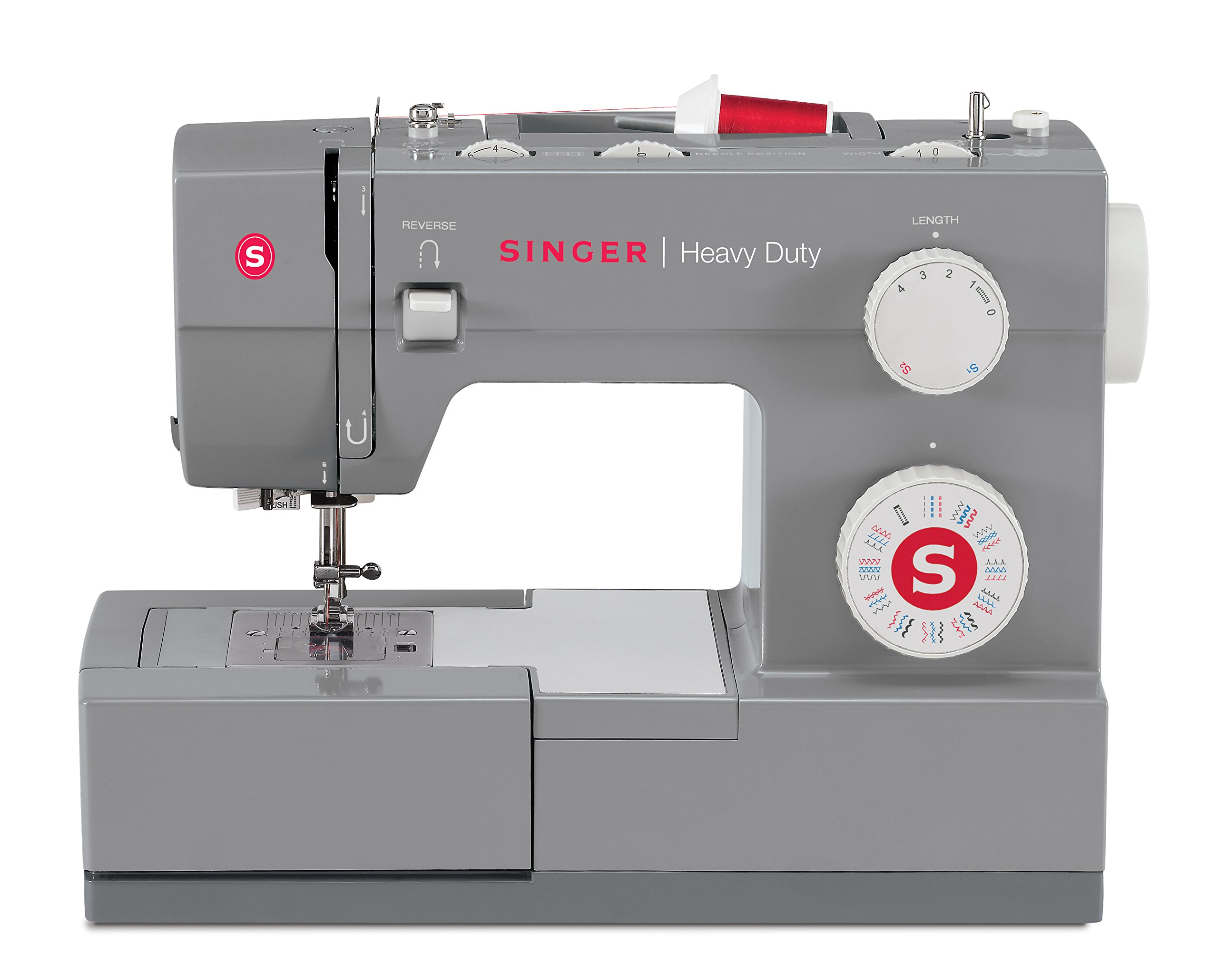 SINGER | Heavy Duty 4432 Sewing Machine with 32 Built-in Stitches, Automatic Needle Threader, Metal Frame and Stainless Steel Bedplate, Perfect for Sewing All Types of Fabrics with Ease by SINGER