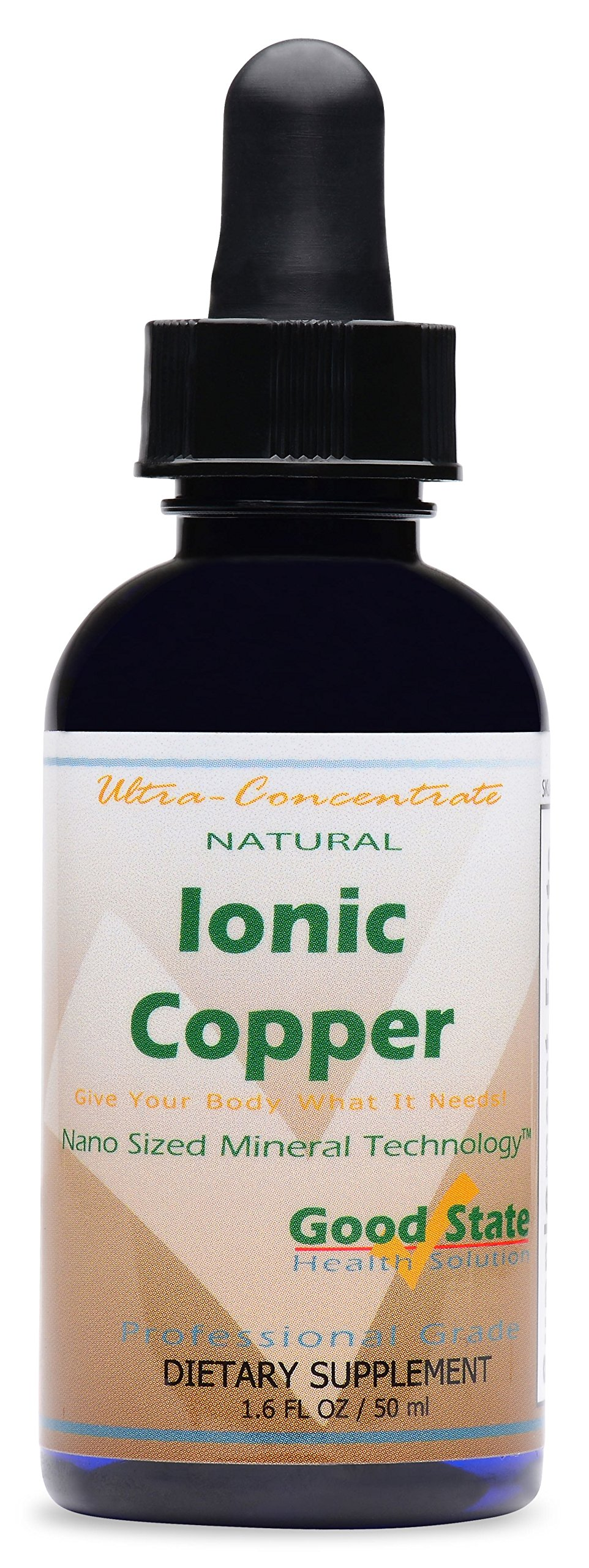 Good State | Natural Ionic Copper | Liquid Concentrate | Nano Sized Mineral Technology | Professional Grade Dietary Supplement | Supports Healthy Growth & Development | 1.6 Fl oz Bottle (50 mL)