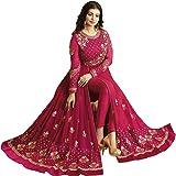 Glamify Women's Georgette Semi-Stitched Anarkali Suit (Pink_Free_Size)
