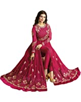 Ethnic Empire WomenDesigner Georgette Pink Embroidered Semi Stitched Long Anarkali Suit (Ethnic_ER10477_Pink_Free Size)