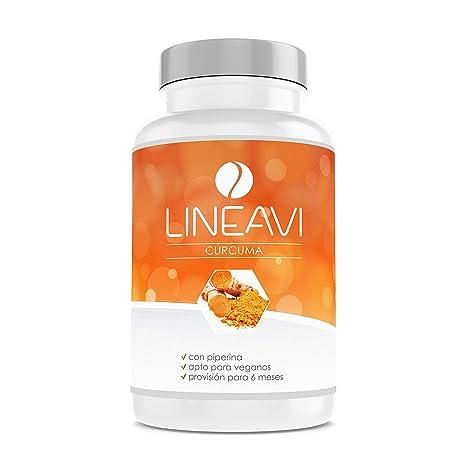 Cúrcuma LINEAVI | 400 mg de cúrcuma en polvo y 25 mg curcumina por cápsula |