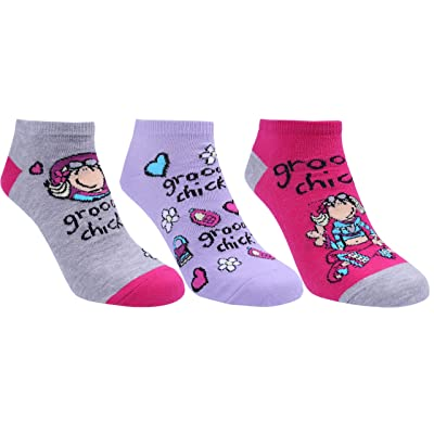3 x calcetines Groovy Chick, color rosa gris: Ropa y accesorios