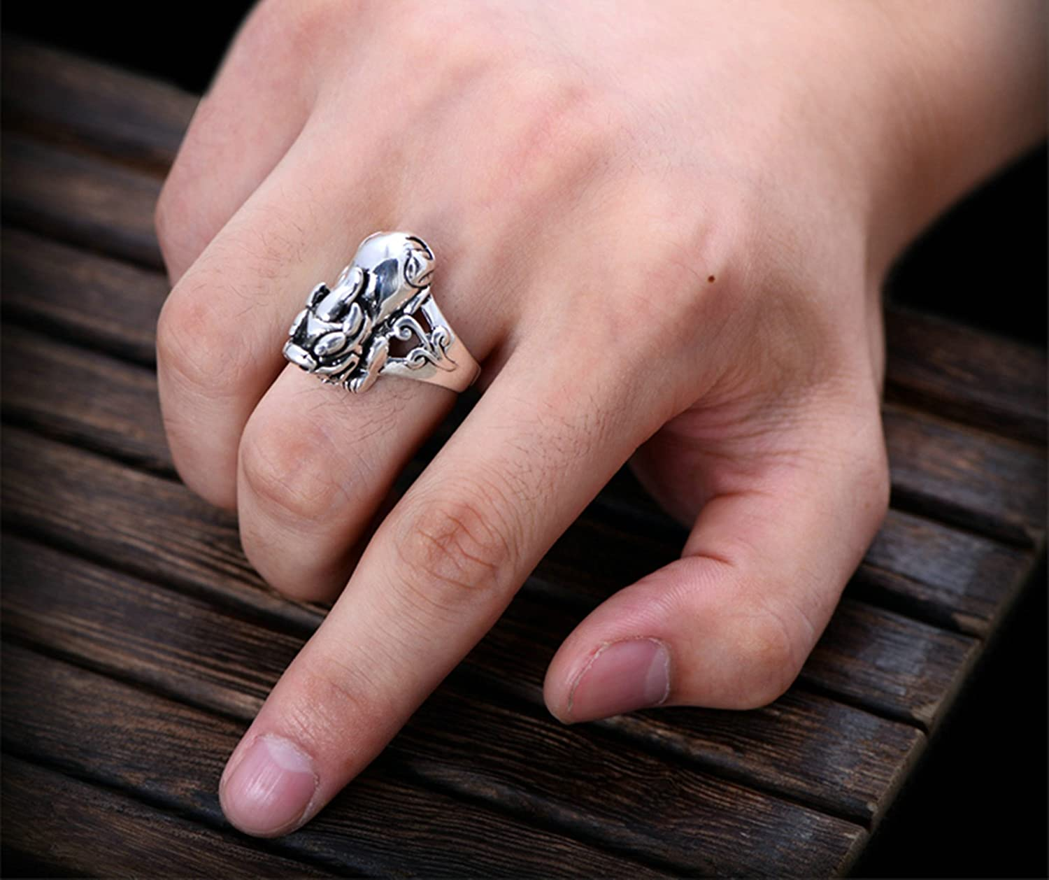 Bishilin Sterling Silver Ring for Men Brave Troops Partner Friendship Rings Silver Size 11