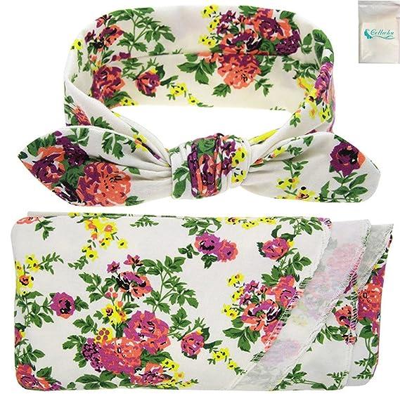 f071691e8 Amazon.com: Gellwhu Set of 1-3, Newborn Baby Sleep Swaddle Sack Cocoon  Blanket Headband Set (A Set(White)): Clothing