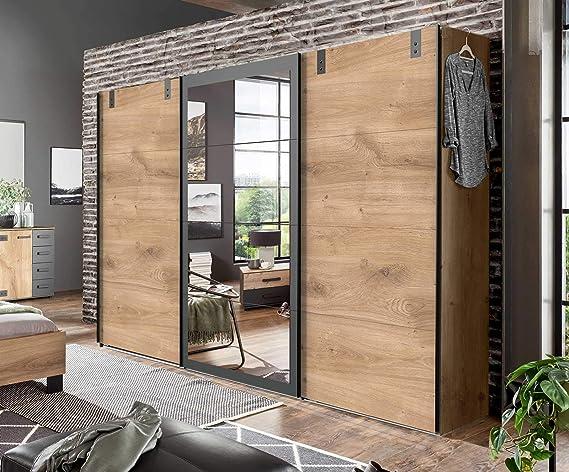 lifestyle4living - Armario ropero con Puertas correderas (270 cm), Color Gris: Amazon.es: Juguetes y juegos