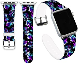 Jolook for Apple Watch Bands 40mm,Jolook Soft Leather Sport Style Replacement iWatch Strap for Apple Watch 38mm 40mm Series 6/5/4/3/2/1 - Marble Galaly Pineapple Band