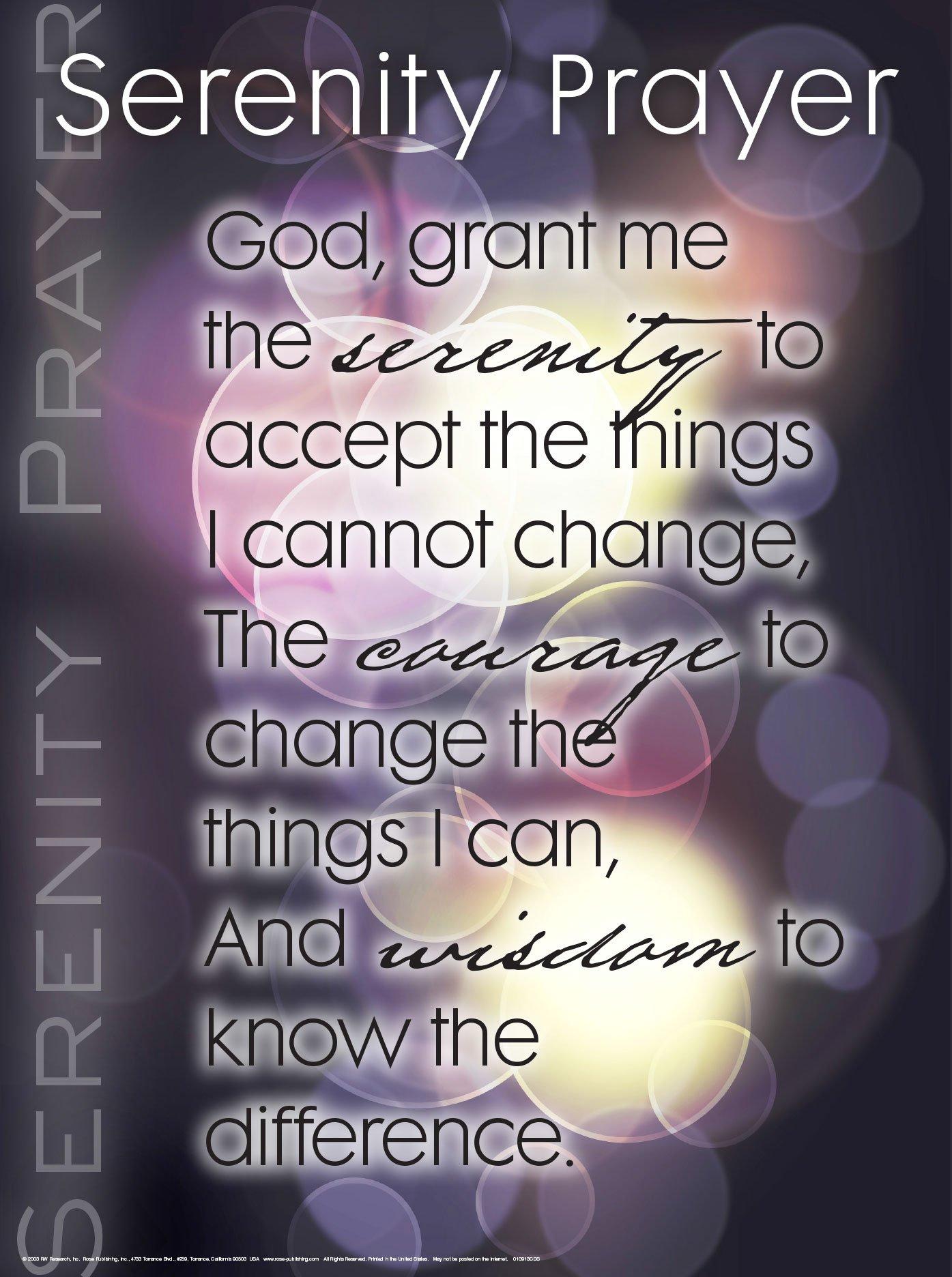 Serenity Prayer Wall Chart Unlaminated Rose Publishing