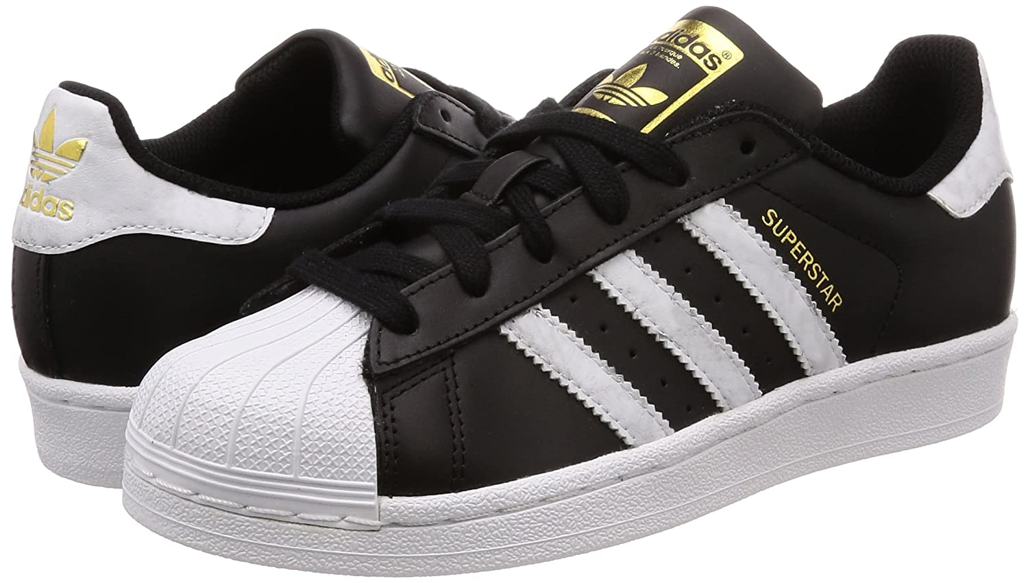 Amazon.com | adidas Mens Superstar, CORE Black/Footwear White/Gold MT, 7 M US | Fashion Sneakers