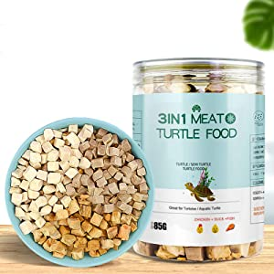3 in 1 Meat Turtle Food - Chicken & Duck & Fish Meat Natural Freeze Dried Human-Grade Turtle Treats (3 OZ)