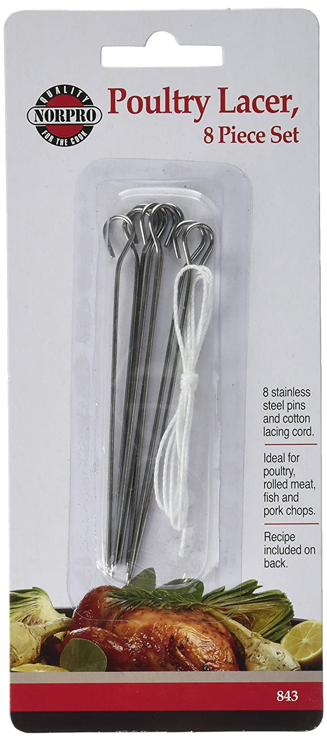 Norpro 843 Stainless Steel Poultry Lacers, Set of 8