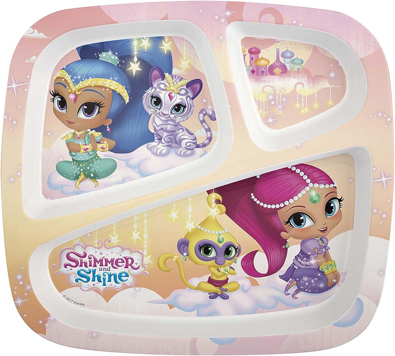 Zak Designs Nick Jr. 3-section Kids Plate, Shimmer & Shine