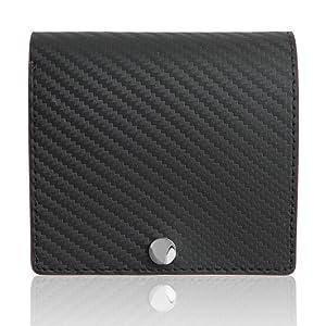 [Dom Teporna Italy] 二つ折り財布 マネークリップ並みの薄さ15mm 牛革 イタリアンカーボンレザー ミニマリスト メンズ レディース ブラック