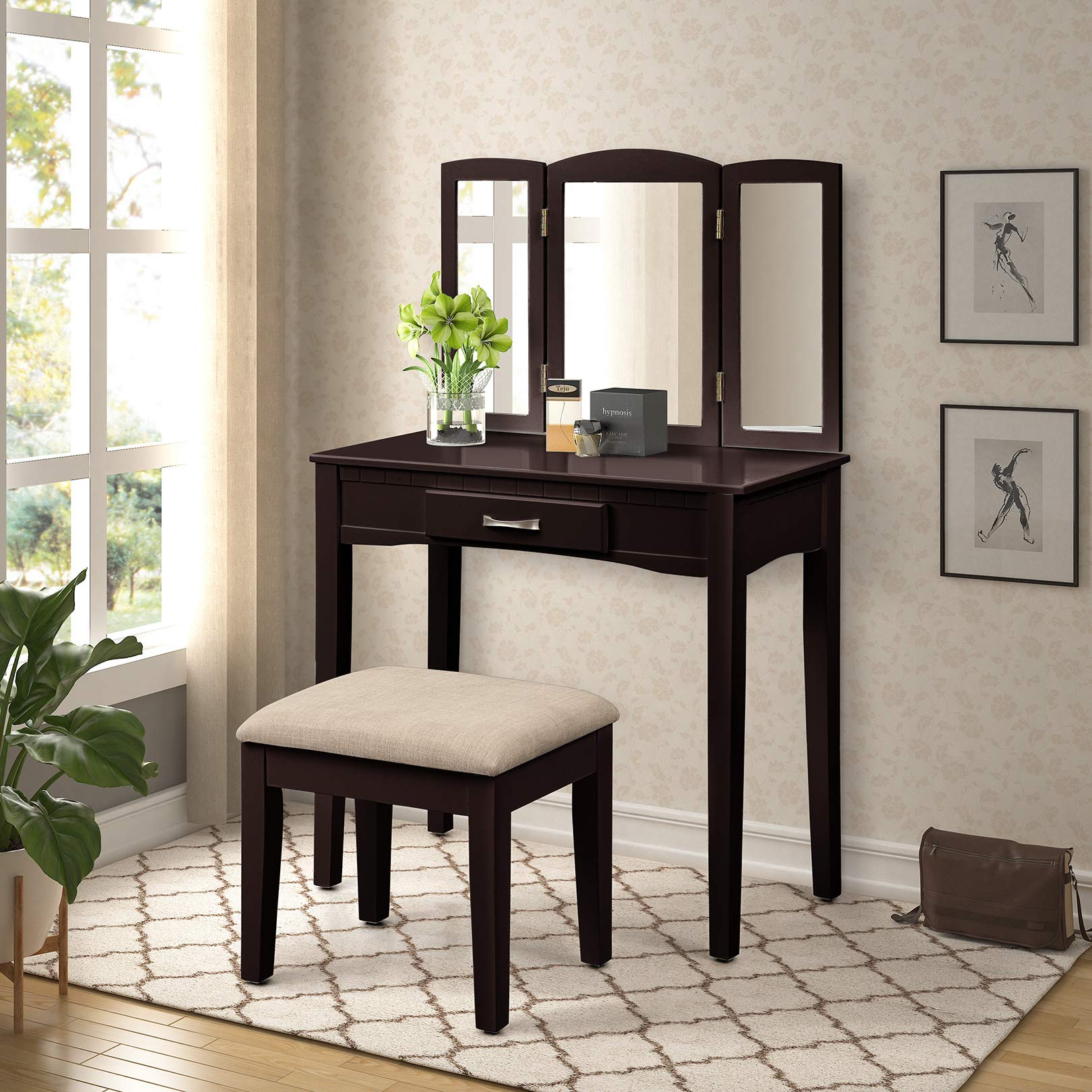Harper & Bright Designs Vanity Set Make-up Dressing Table with Mirror and Cushioned Vanity Stool (Espresso 3)