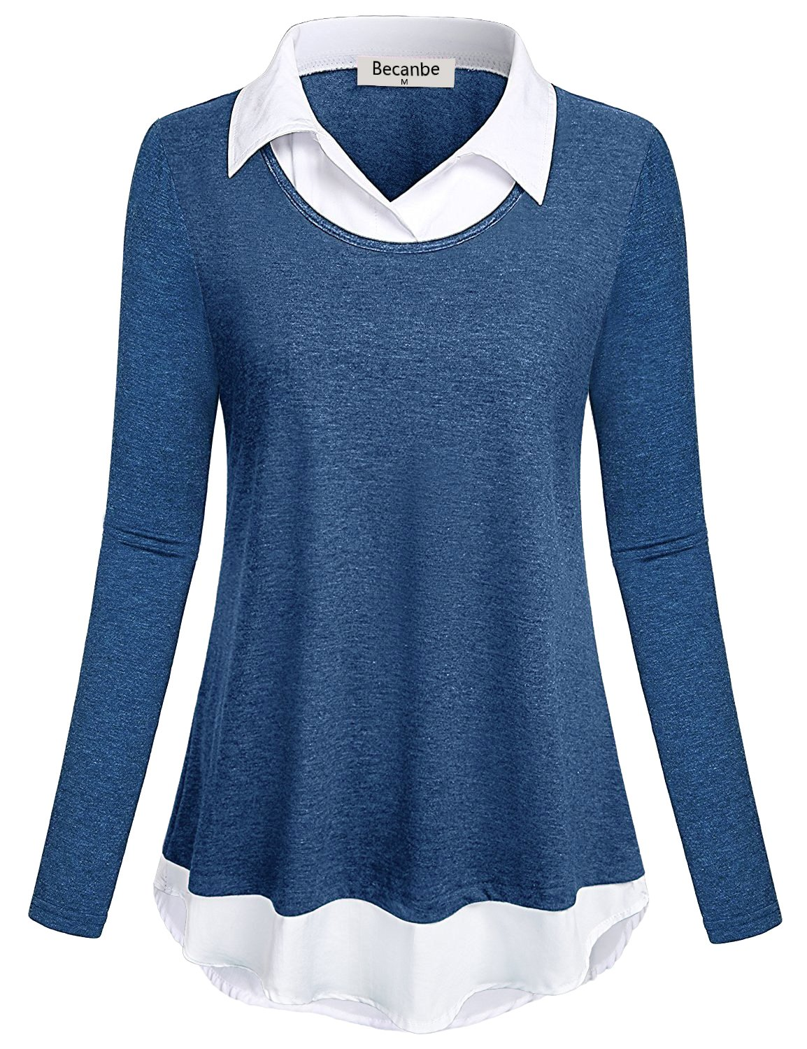 Becanbe Stylish Shirts for Women,Long Sleeve Loose Fit V CollaBlue Neck Patchwork Details Modern Tops Relaxed Fit Outstanding Chic Flattering Cotton Knitted Blouses for Ladies(Blue,X-Large)