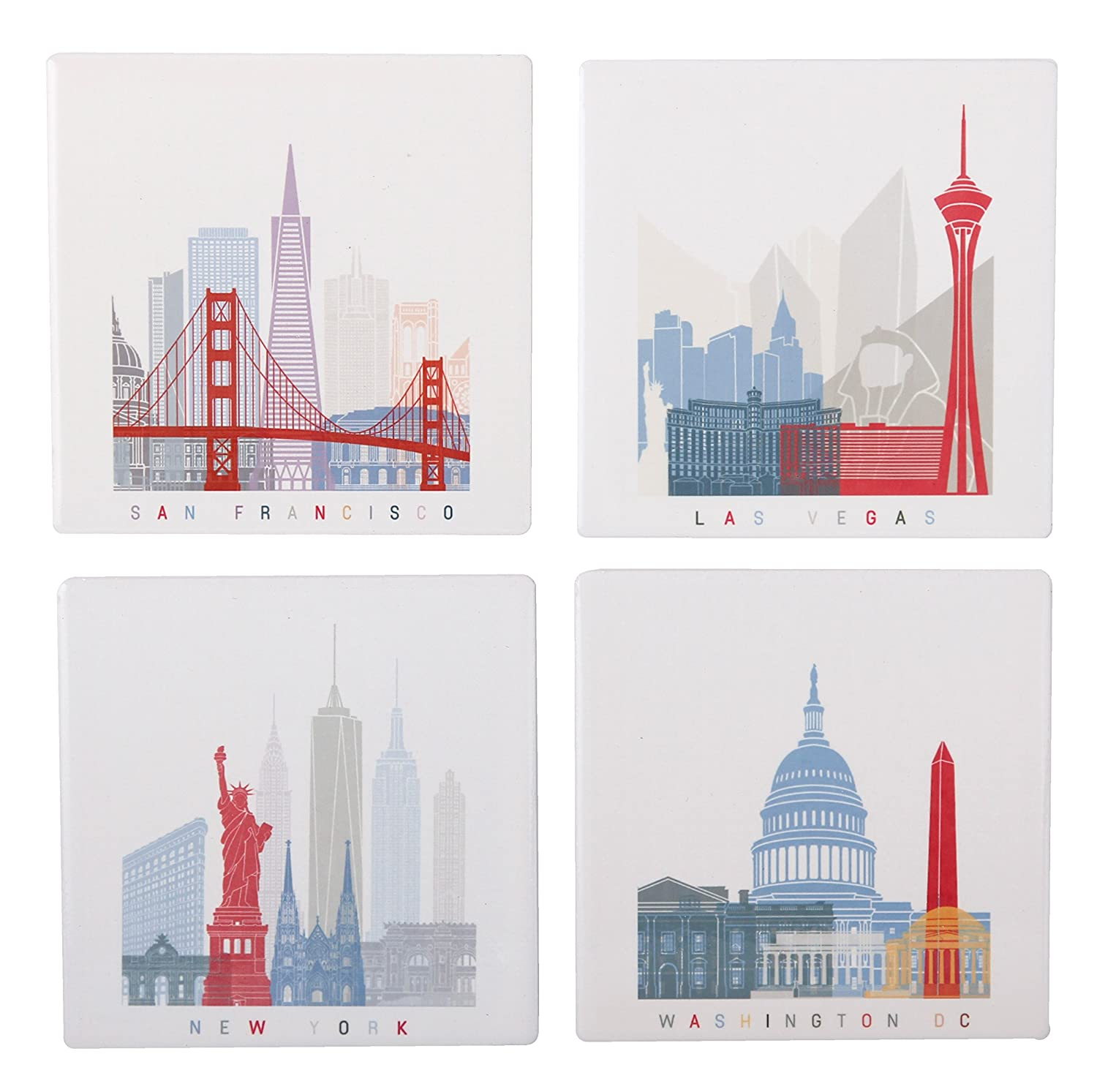 Planet Ethnic World Explorer (USA - Washington DC, New York, Las Vegas, San Francisco) Ceramic Coaster Set (4 coasters, each almost 4 X 4 inches) with matching wooden coaster holder and nice gift box