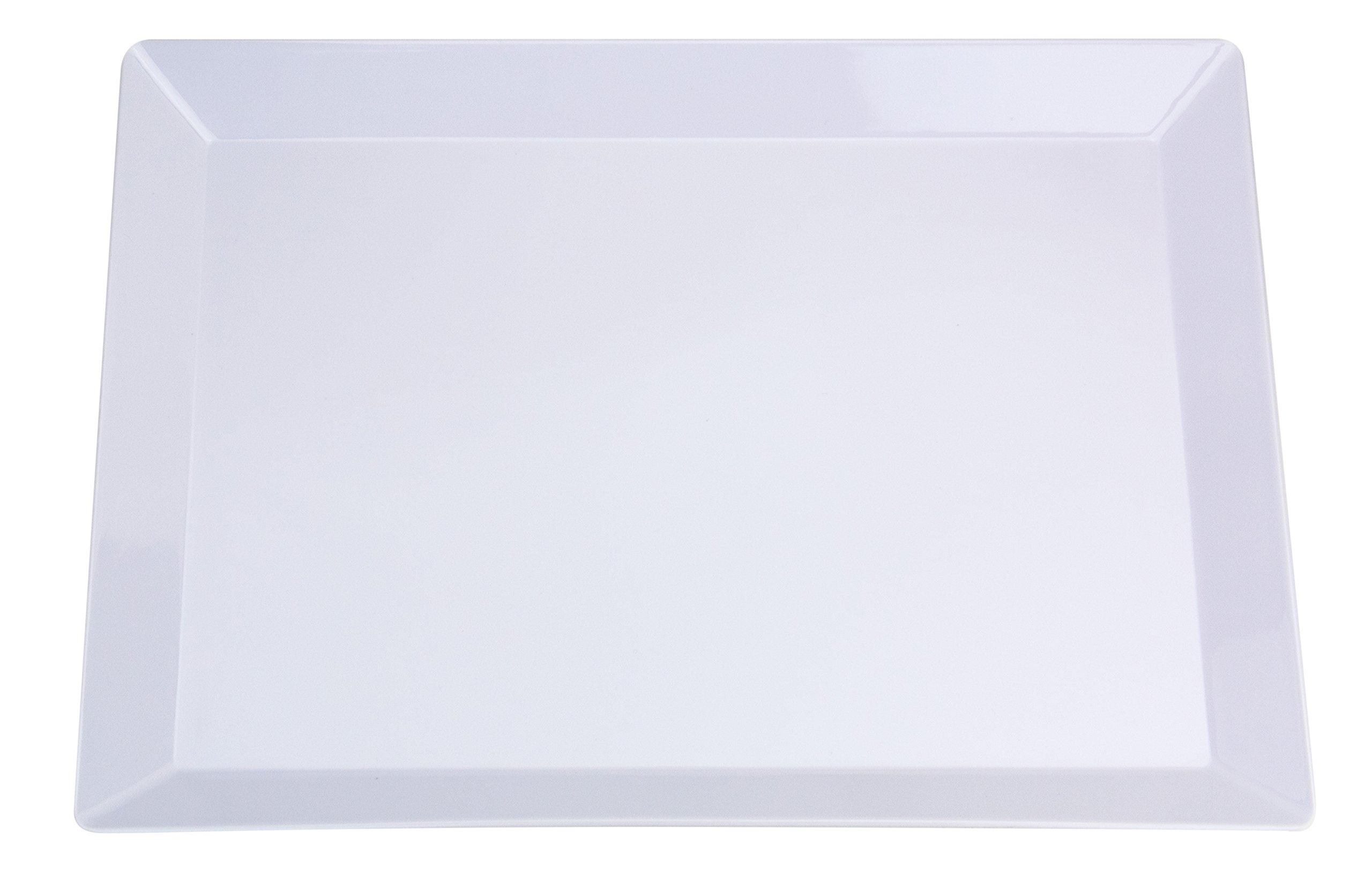 Set of 2 | NOMsquared Large Rectangular White Plastic Serving Tray. 18'' x 13'' 100% Melamine, BPA Free, Elegant, Heavy Duty, Durable. Perfect serving plate or platter for dinner parties, bbq's & baking