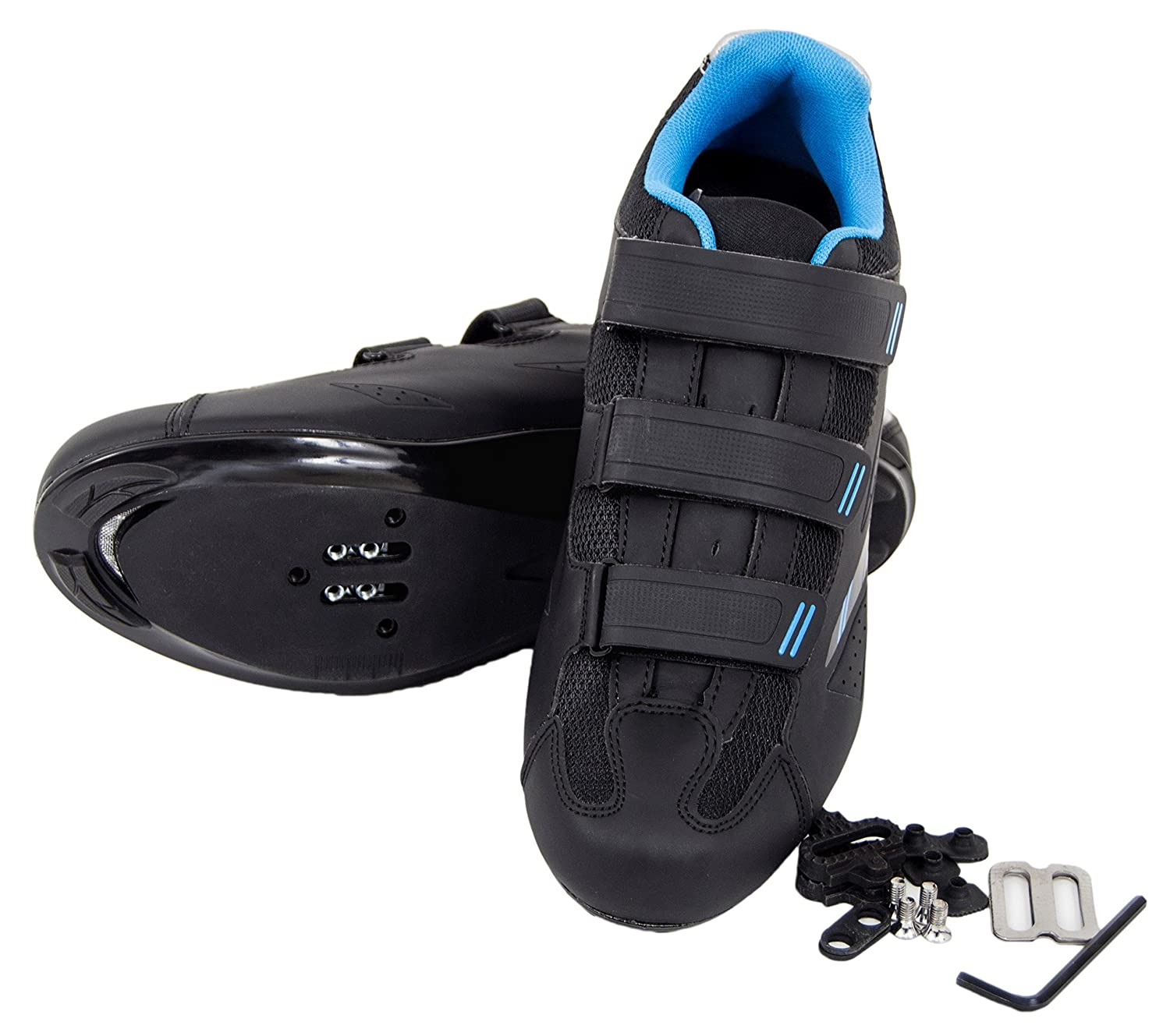 Tommaso Pista 100 Women's Spin Class Ready Cycling Shoe with Compatable Cleat - Black/Blue B07665HQDW 41 EU/ 10 US W|Spd