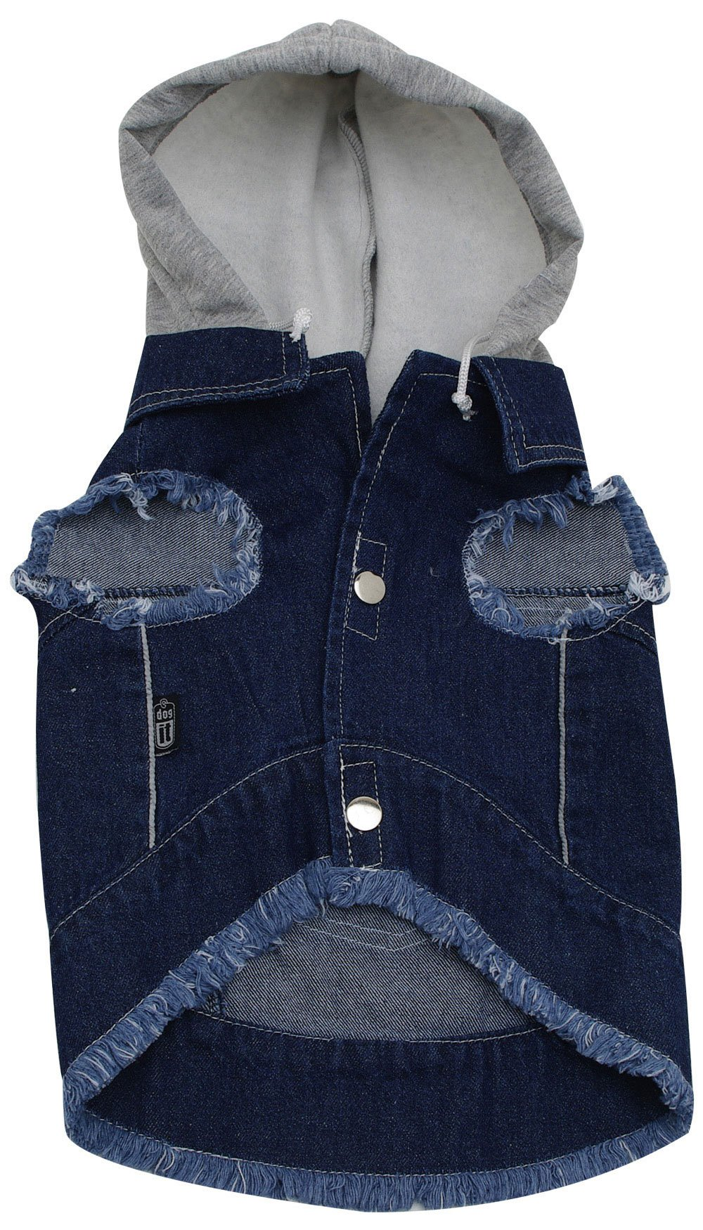 Dogit Hooded Denim Dog Jacket, X-Large, Dark Blue