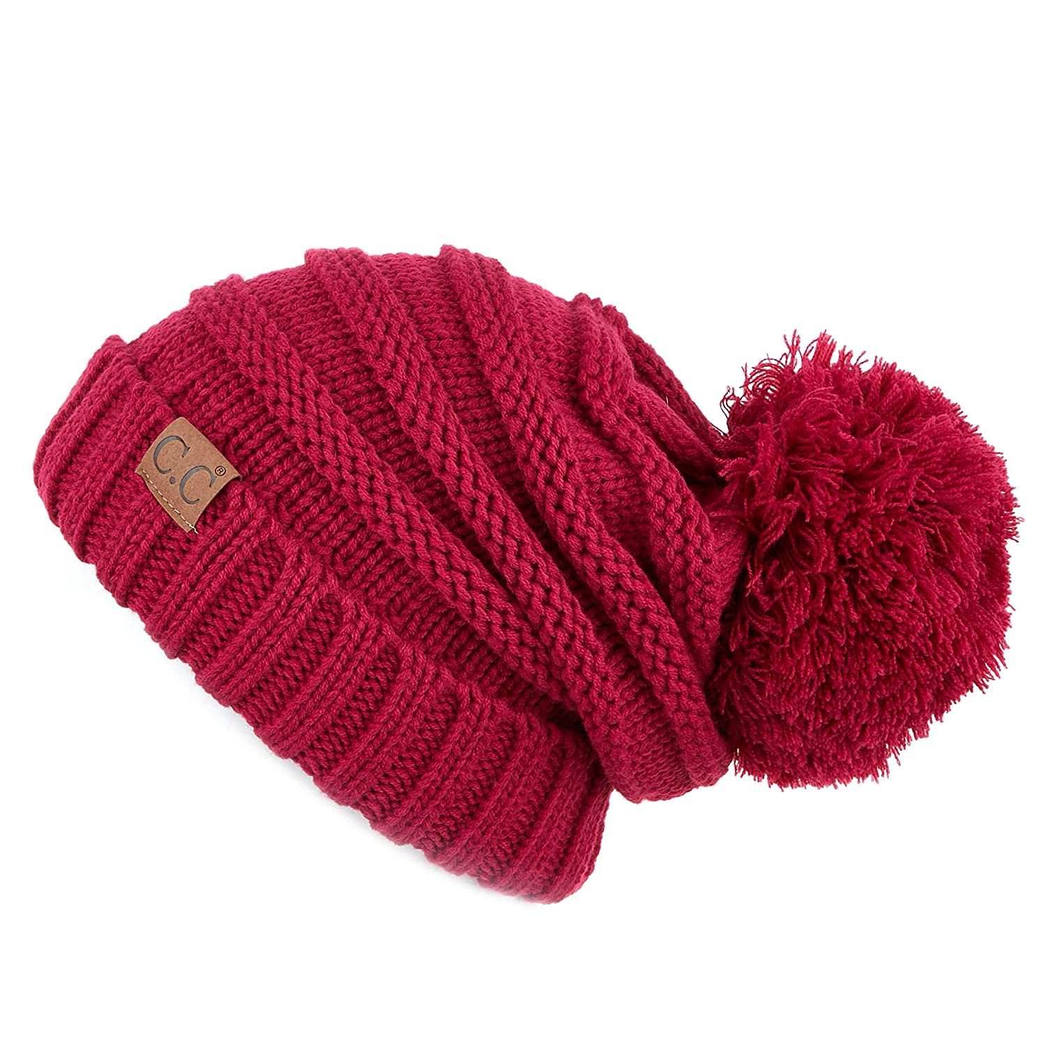 48b73bc248a CC Exclusives Unisex Oversized Slouchy Beanie with Pom (HAT-100POM) (Hot  Pink) at Amazon Women's Clothing store: