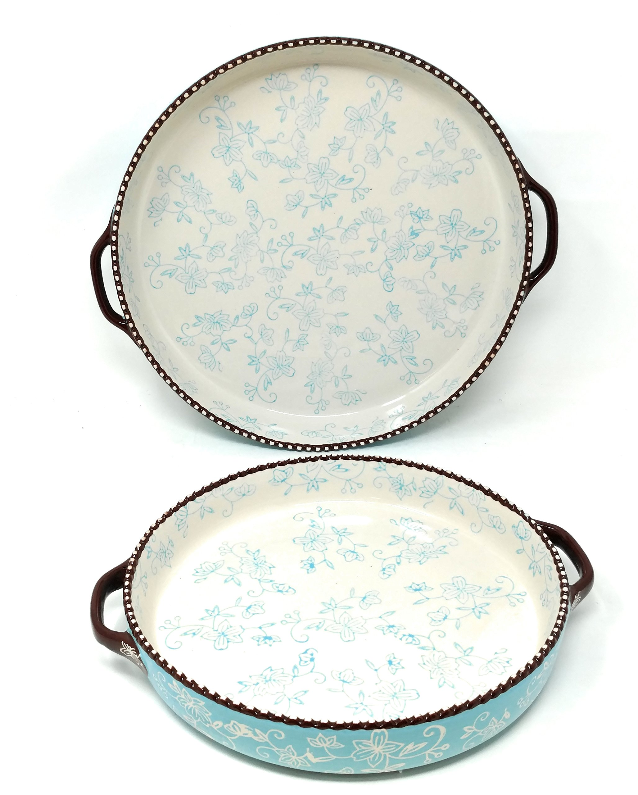 Temp-tations Set of 2 Pizza Deep Dish w/Handles Tart Pan or Shallow Pie/Quiche 11'' & 9'' (Floral Lace Light Blue)