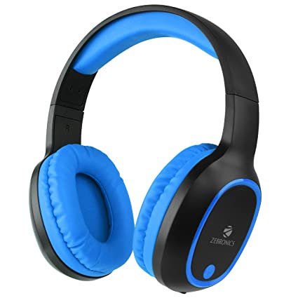 22db0b192787a Zebronics over The Ear Thunder Built in FM Radio, Supports microSD, AUX  Function Bluetooth Headset with Mic (Blue)
