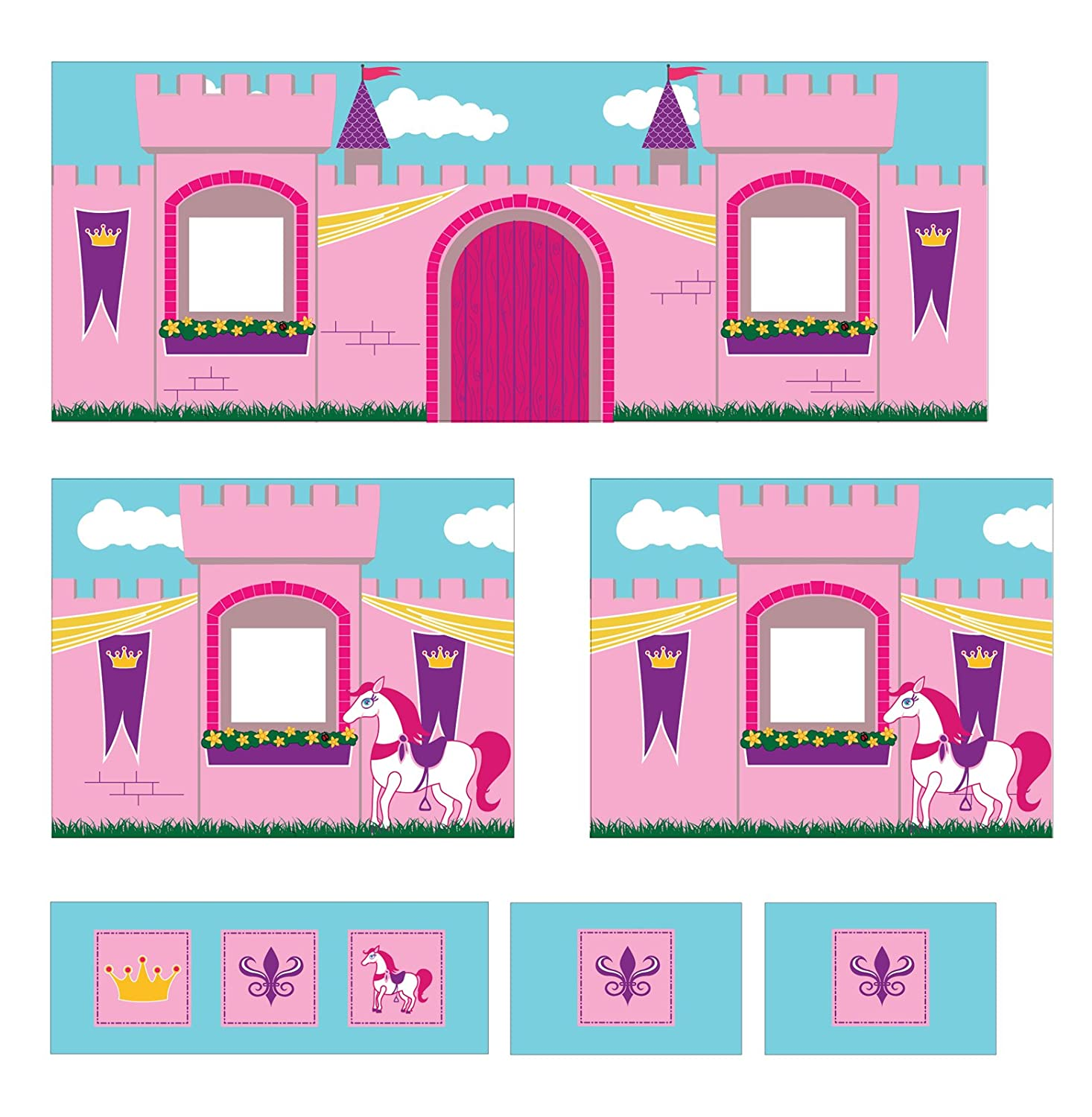 851504285 Amazon.com  DHP Curtain Set for Junior Loft Bed with Princess Castle ...