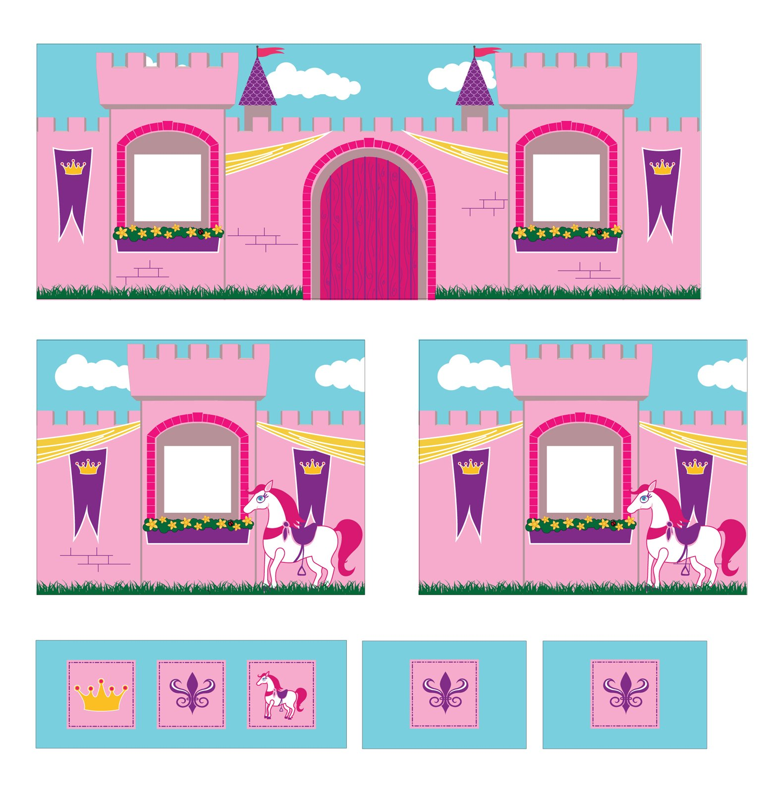 DHP Princess Castle Design Curtain Set for Junior Loft Bed, Kids Furniture, Pink by DHP