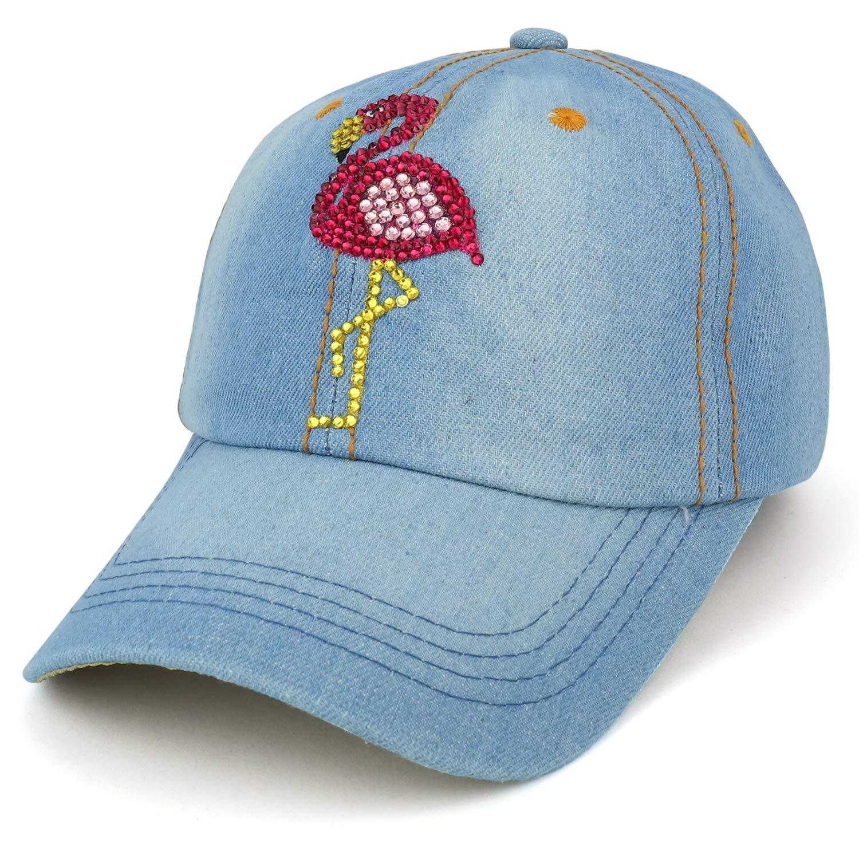 bc086d81553 Armycrew Flamingo Jewel Studded Rhinestones Structured Baseball Cap - Light  Denim