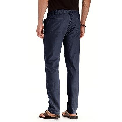 91bb10c03561 ... Mr.Zhang Men s Drawstring Casual Beach Trousers Linen Summer Pants Navy  Blue-US 32 ...