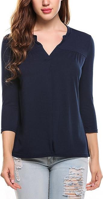 Blusa casual para mujer, cuello en V, manga larga, suelta, para ocio, monocolor, para negocios, otoño, invierno