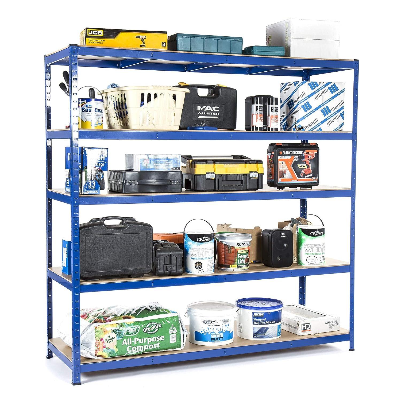 Racking Solutions - Rayonnage / Étagère de garage / Système de stockage en acier, charges lourdes, capacité de charge totale 1000kg (5niveaux 1800mm H x 1800mm L x 600mm P) + Livraison Gratuite