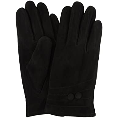 """e3fb2509b Ladies Suede Gloves with Fleece Lining and Two Button Design - Black -  Small (6.5"""""""