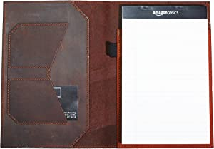 Notepad Holder Leather Notepad Holder Legal Pad Holder Notebook Holder Crazy Horse Leather Padfolio - Business Gift - Made in USA (Darknut)
